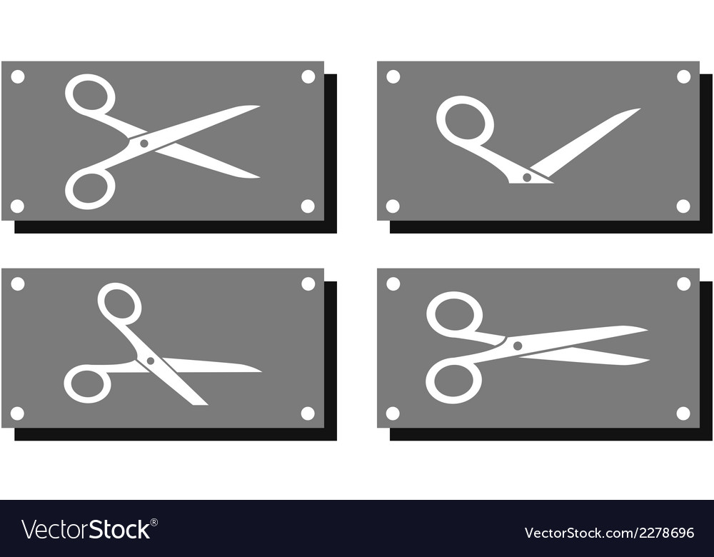 Set white scissors on gray plate vector | Price: 1 Credit (USD $1)