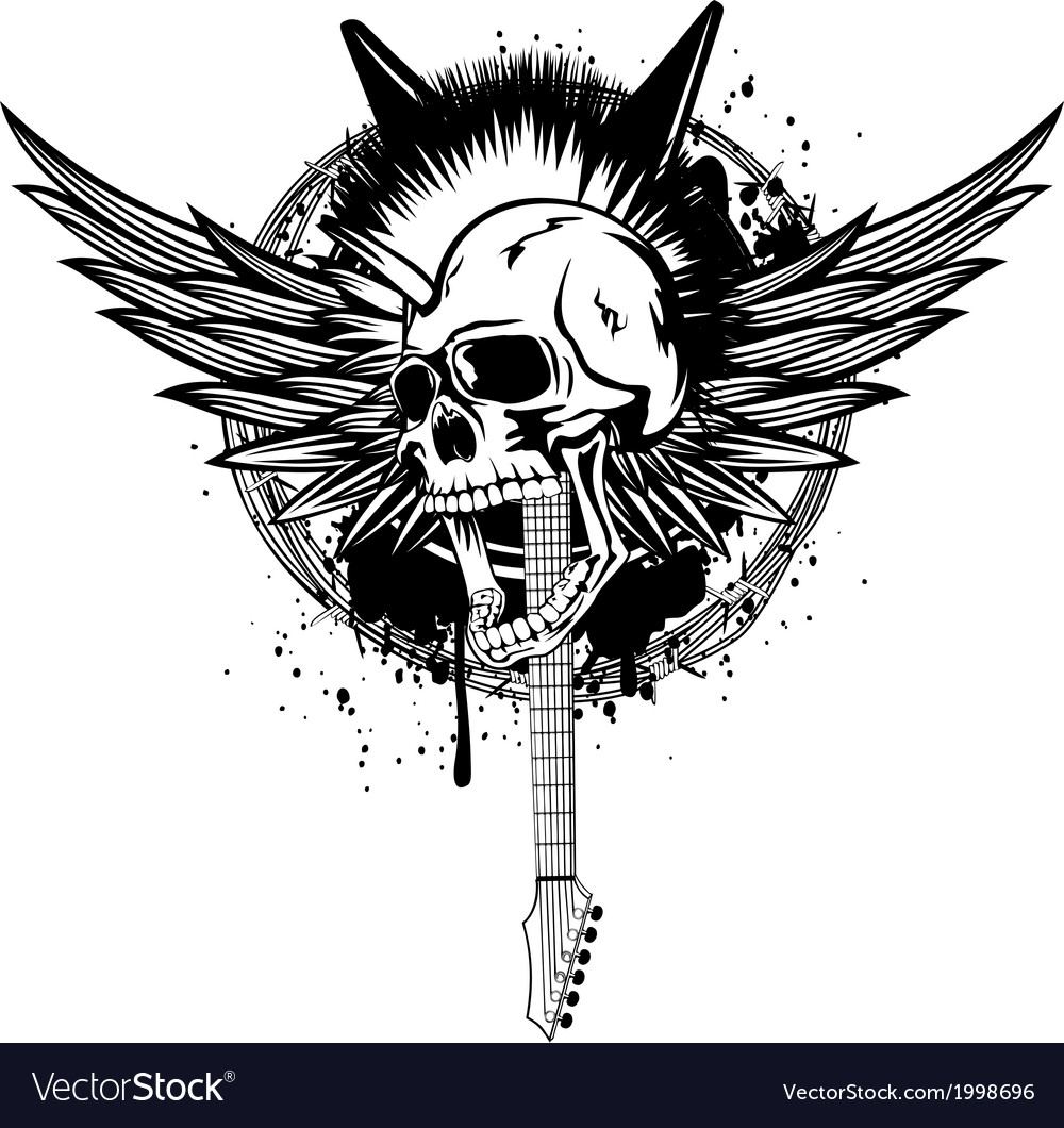 Skull punk with wings and guitars vector | Price: 1 Credit (USD $1)