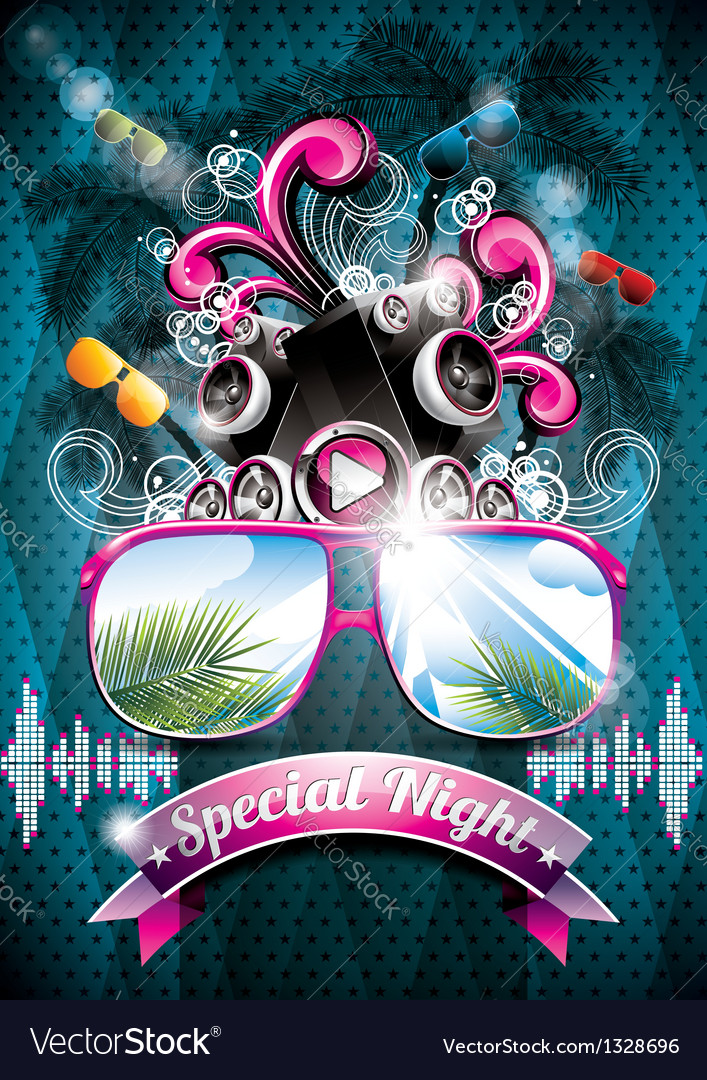 Summer beach party flyer design with speakers vector | Price: 3 Credit (USD $3)