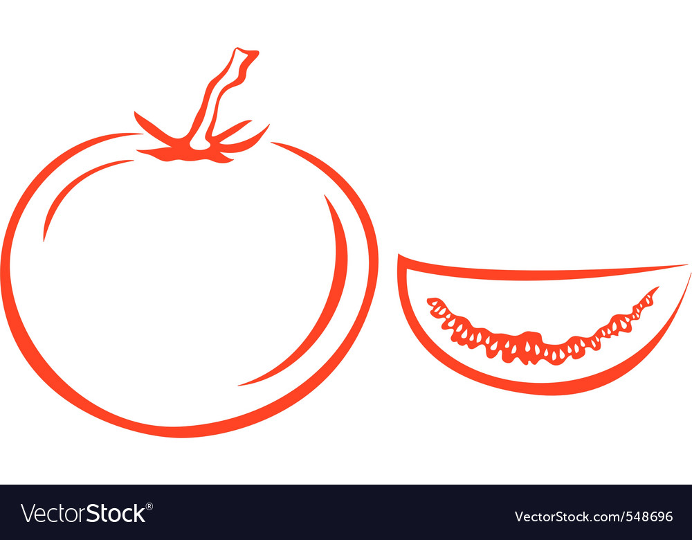 Tomato and segment vector | Price: 1 Credit (USD $1)