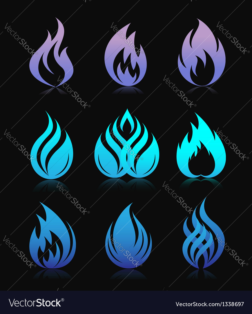 Blue design fire elements on black vector | Price:  Credit (USD $)