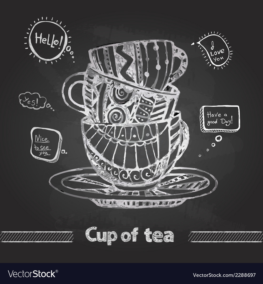 Chalk drawings decorative cup of coffee vector | Price: 1 Credit (USD $1)