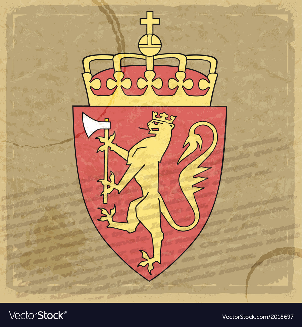 Coat of arms of norway on the old postage stamp vector | Price: 1 Credit (USD $1)
