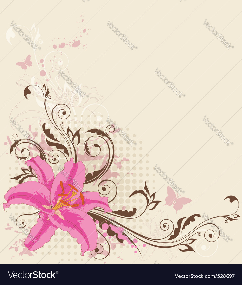 Floral background with pink lily vector | Price: 1 Credit (USD $1)