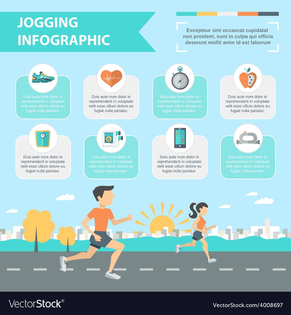 Jogging infographics set vector | Price: 1 Credit (USD $1)