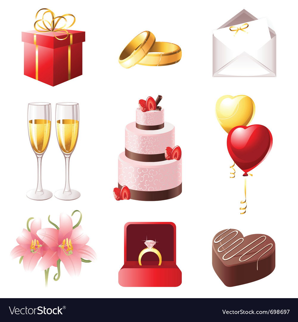 Love and marriage icons set vector | Price: 3 Credit (USD $3)