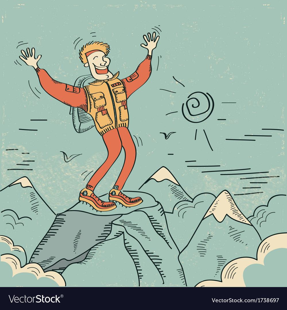 Man standing top of mountain vector