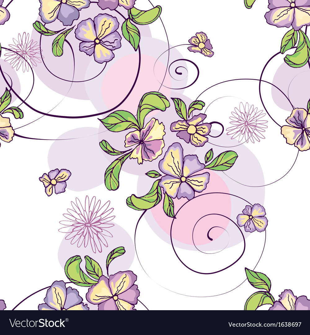 Pattern of purple flowers with circles vector | Price: 1 Credit (USD $1)