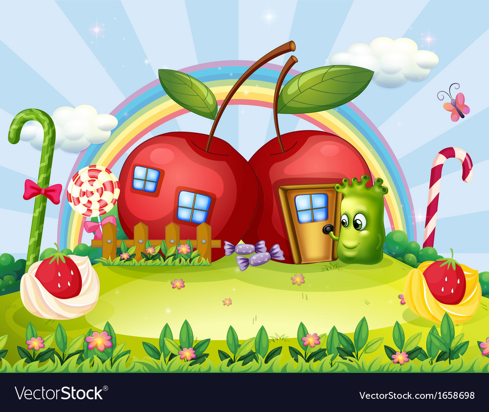 A monster going to the apple house vector | Price: 3 Credit (USD $3)