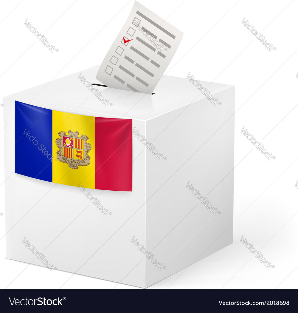 Ballot box with voting paper andorra vector | Price: 1 Credit (USD $1)