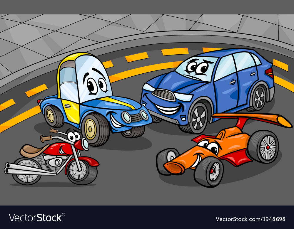 Cars vehicles group cartoon vector | Price: 1 Credit (USD $1)
