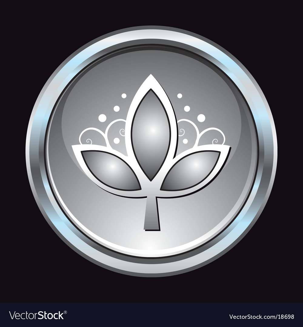 Chrome button leaf symbol vector | Price: 1 Credit (USD $1)