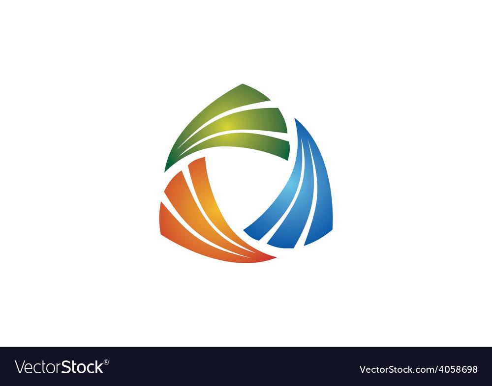 Circular triangle geometry business logo vector | Price: 1 Credit (USD $1)