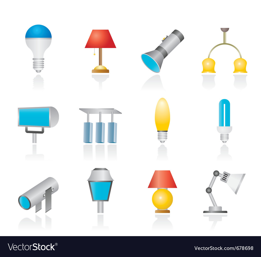 Different kind of lighting equipment vector | Price: 1 Credit (USD $1)