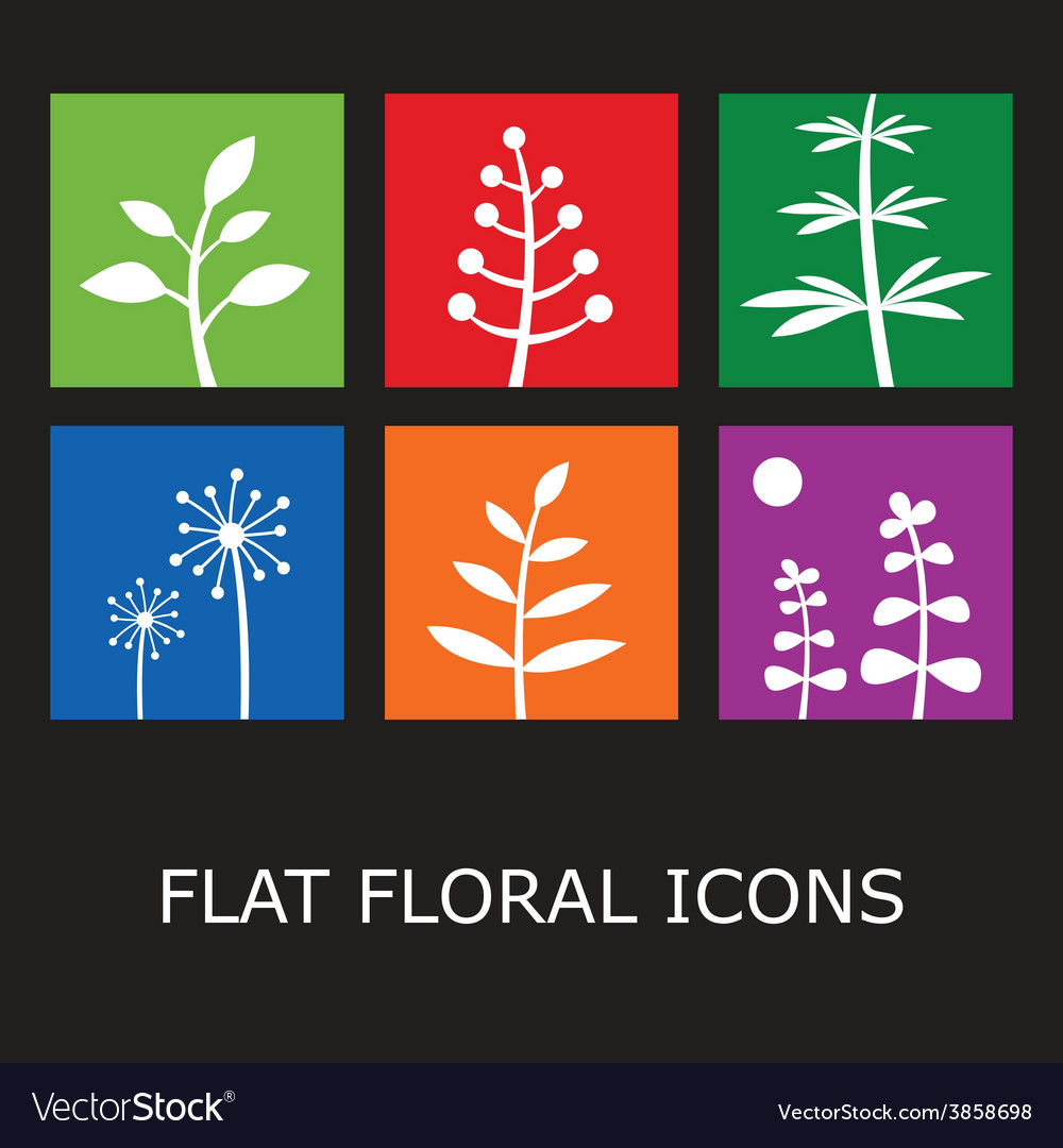Flat floral icons vector | Price: 1 Credit (USD $1)