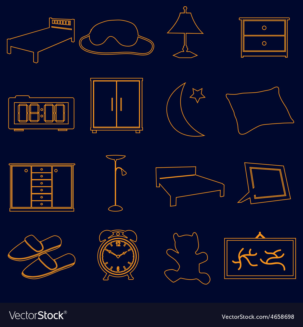 Home bedroom outline simple icons set eps10 vector | Price: 1 Credit (USD $1)