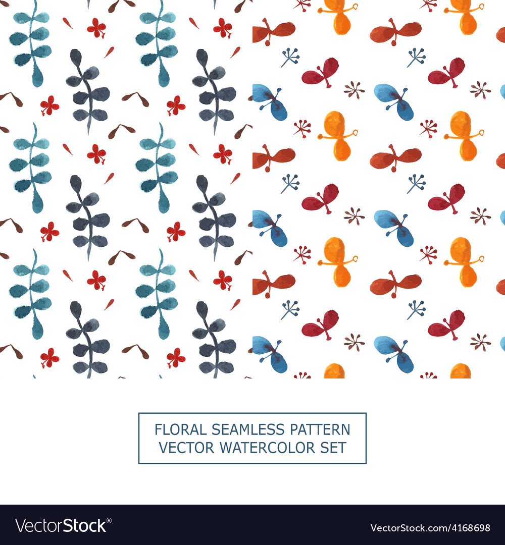 Seamless pattern watercolor set of 2 vector | Price: 1 Credit (USD $1)