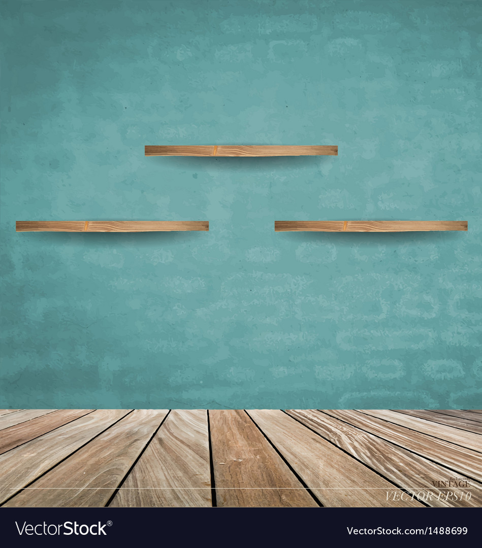 Empty wood shelf on blue brick wall vector | Price: 1 Credit (USD $1)