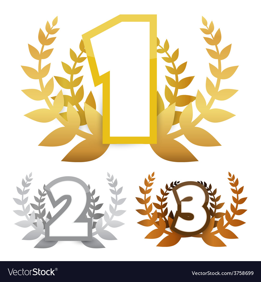 Gold - silver and bronze awards symbols vector | Price: 1 Credit (USD $1)