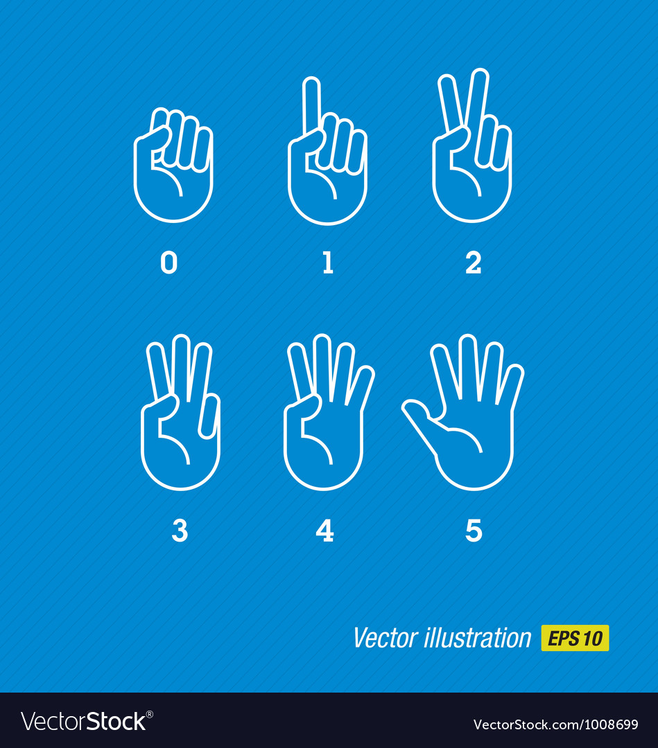 Hands finger and numbers vector | Price: 1 Credit (USD $1)