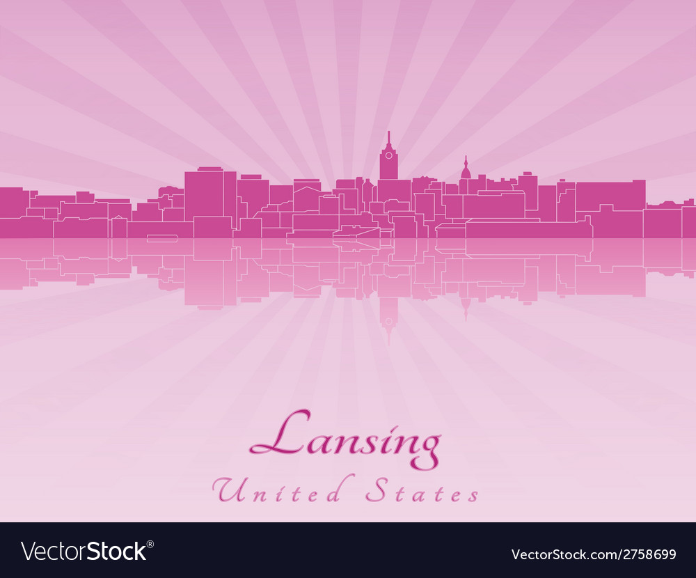 Lansing skyline in radiant orchid vector | Price: 1 Credit (USD $1)
