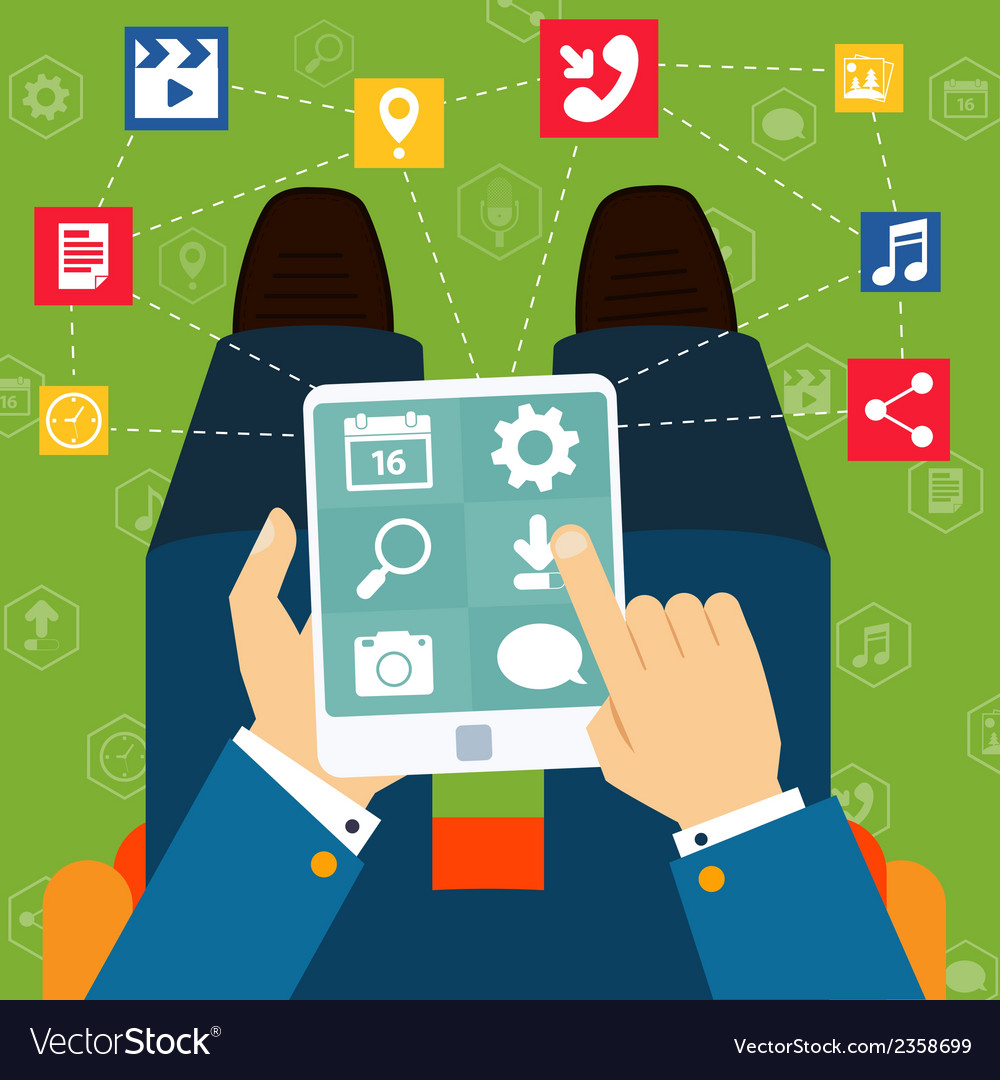 Mobile applications flat concept vector | Price: 1 Credit (USD $1)