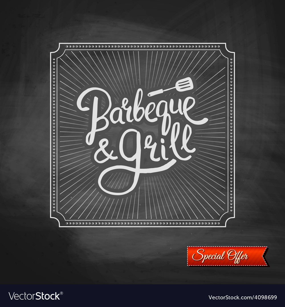 Poster of barbecue and grill on black chalkboard vector | Price: 1 Credit (USD $1)