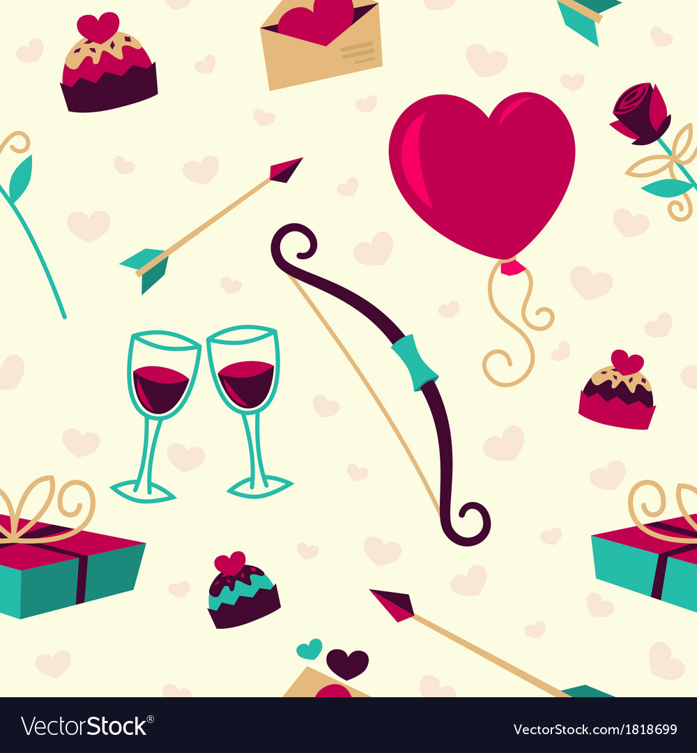 Seamless pattern for valentines day card vector | Price: 1 Credit (USD $1)