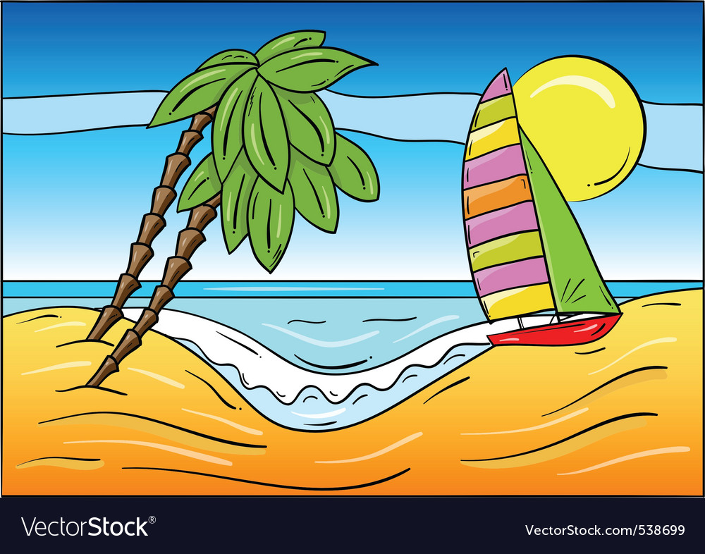 Summer beach with palm and sailboat vector | Price: 1 Credit (USD $1)
