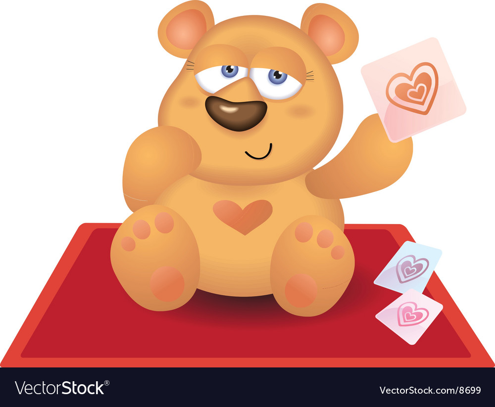 Teddy bear playing heart card vector | Price: 3 Credit (USD $3)
