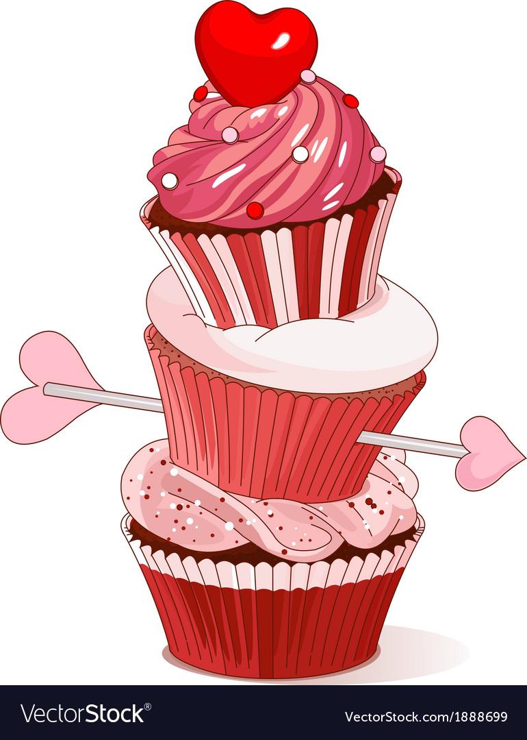 Valentine cupcakes vector | Price: 1 Credit (USD $1)