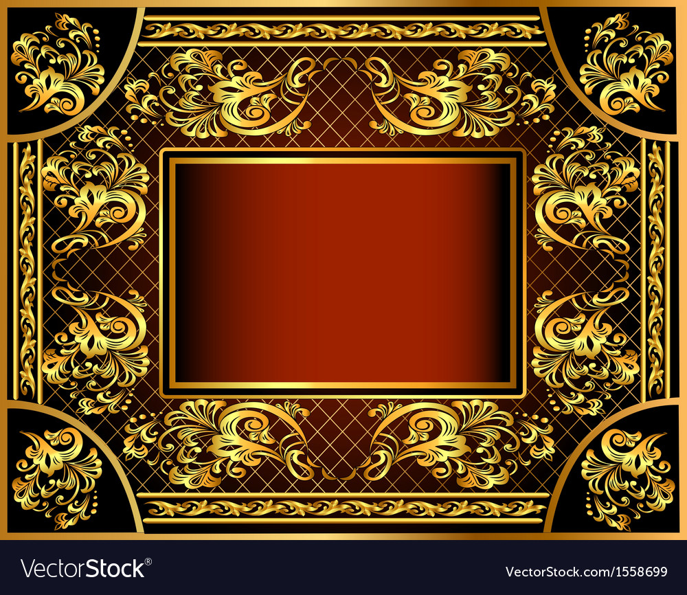 Vintage background frame with gold vector | Price: 1 Credit (USD $1)