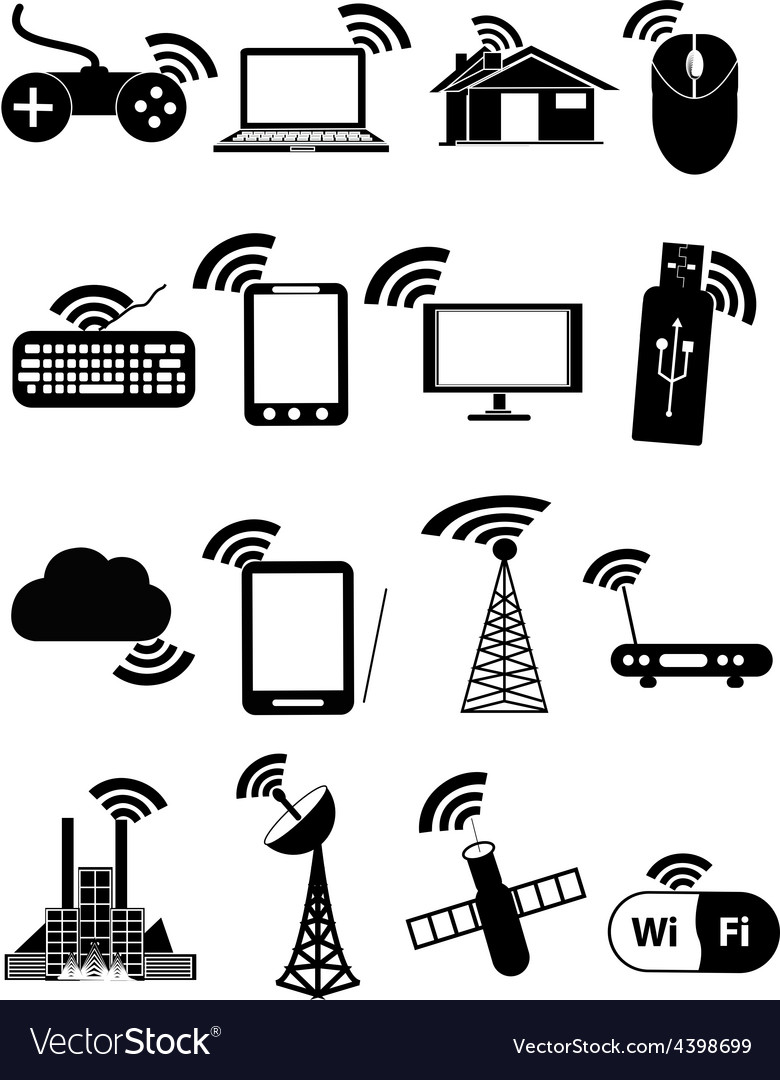 Wireless network icons set vector | Price: 1 Credit (USD $1)