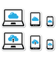 Cloud network on laptop tablet smartphone icons vector