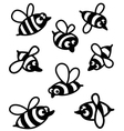 Set with cute bee silhouettes vector