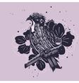 Bird with flowers vector