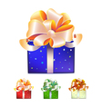 Color gift boxes with bows and ribbons vector