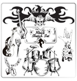Rock music sketch set vector