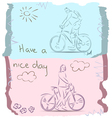 Have a good day on bike sketch vector
