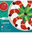 Caprese salad on plate with fork vector