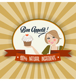 Retro wife with bon appetit message vector