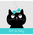 Cute cartoon black cat with blue bow baby shower vector