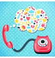 Old telephone chat concept vector