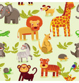 Seamless pattern with cartoon animals vector