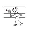 Stick figure badminton vector
