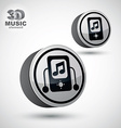 Mp3 player round icon isolated 3d design element vector