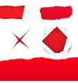 Big red torn paper set vector