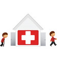 Hospital with patient icon vector