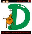 Letter d for deer cartoon vector