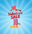 Valentines day sale 10 percent typographic vector